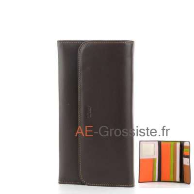Portefeuille compagnon multicolor Fancil FA903 Marron