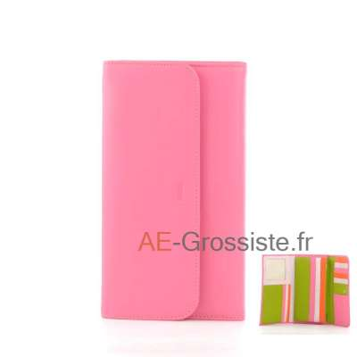 Portefeuille compagnon multicolor Fancil FA903 Rose