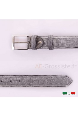 F531 Leather Belt - Gray