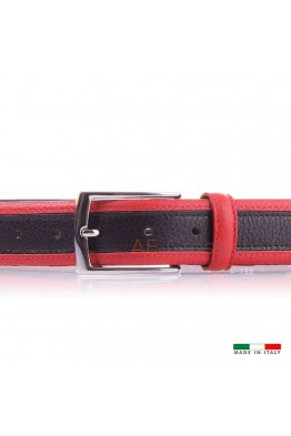 F558 Leather belt Black Red
