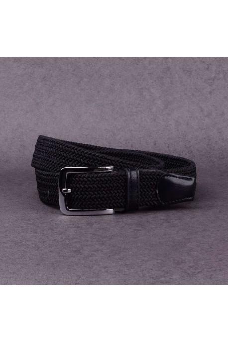 KJ P001 Ceinture tréssée élastique Noire
