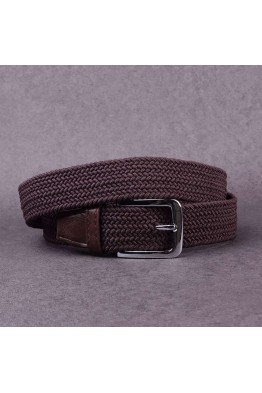 KJ P002 Elastic braided belt - Dark Brown
