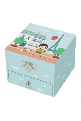 """Boîte musique Trousselier cube tiroir""""Ninon Parisienne"""" S 20609"""