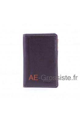Porte carte cuir multicolor Fancil FA912 Marron