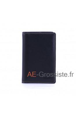 Porte carte cuir multicolor Fancil FA912 Noir