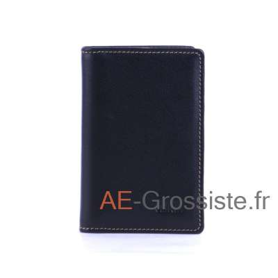 Porte carte cuir multicolor Fancil FA912 Noir