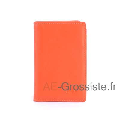 Porte carte cuir multicolor Fancil FA912 Orange