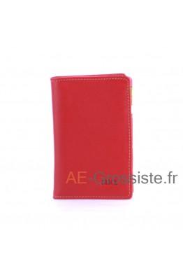 Porte carte cuir multicolor Fancil FA912 Rouge