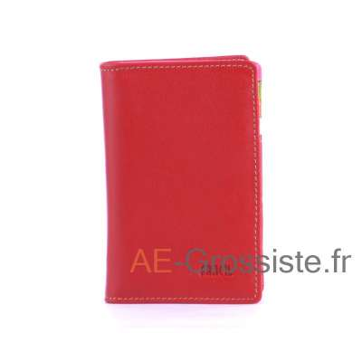 Porte carte cuir multicolor Fancil FA912 Rouge