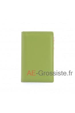 Porte carte cuir multicolor Fancil FA912 Vert