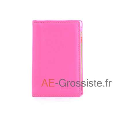 Porte carte cuir multicolor Fancil FA912 Rose