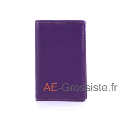Porte carte cuir multicolor Fancil FA912 Violet