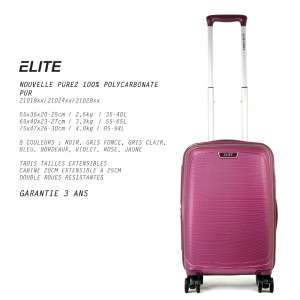 "Set de 3 Valise trolley 100% Polycarbonate Elite ""Pure2""-21028"