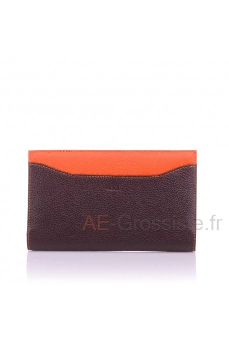 Leather cheque book case multicolore Fancil A8521 Noir