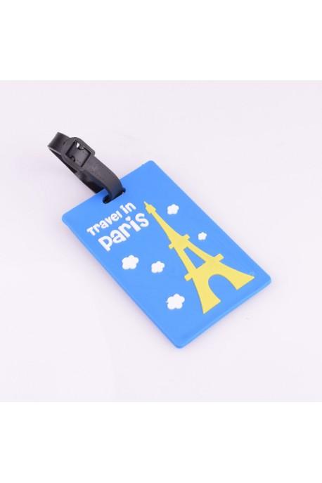 """Etiquette de valise """"Paris"""" Bleu"""