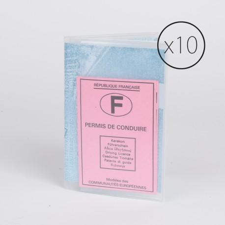 PL001 paquet de 10 étui plastique pour carte grise / permis