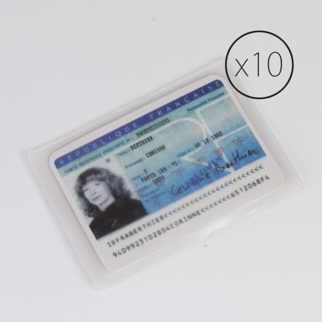 PL003 paquet de 10 étui plastique pour carte d'identité
