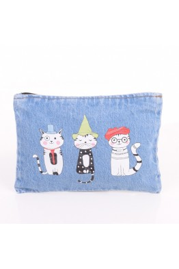 "LW6223 ""Cat"" jeans make up bag"