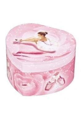 S30974 Trousselier Boite à Musique Cœur Phosphorescent Ballerine Rose