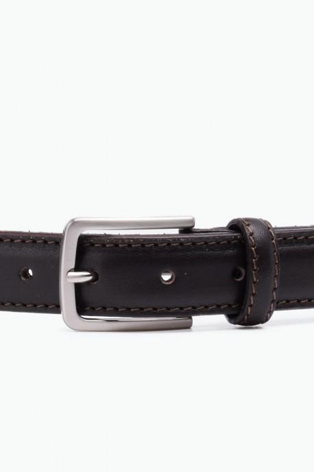 ZE-010-35 Leather Belt - Dark brown
