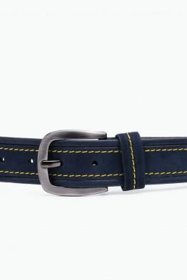 ZE-014-35 Leather Belt - Navy