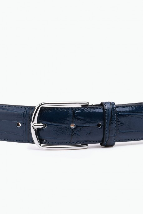 ZE-015-35 Leather Belt - Navy