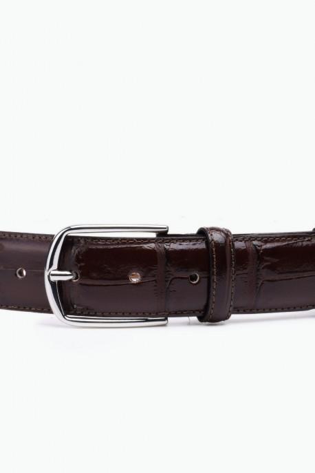 ZE-015-35 Leather Belt - Dark Brown