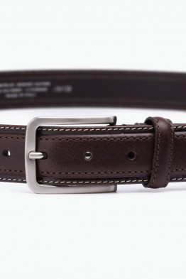 ZE-005-35 Leather Belt - Dark brown
