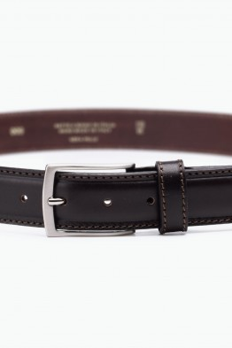 ZE-009-35 Leather Belt - Dark brown
