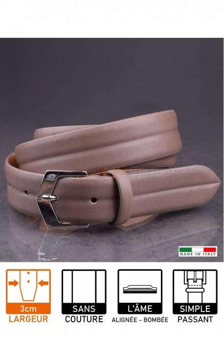 23641 Leather belt taupe