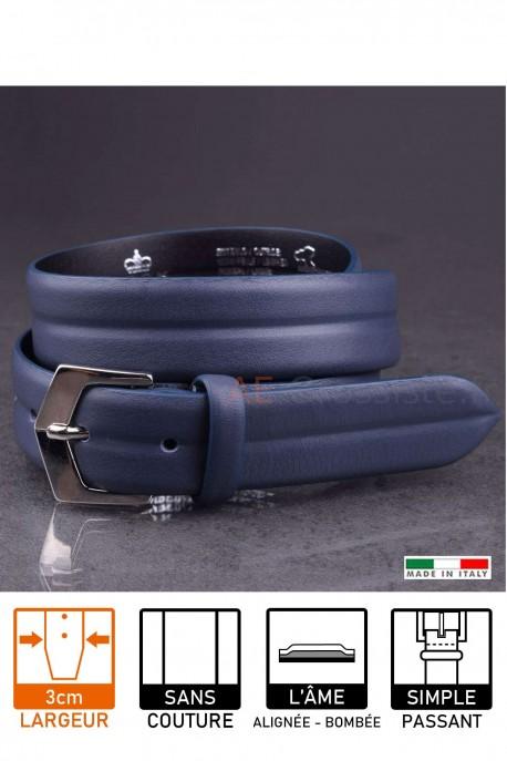 23641 Leather belt Navy blue