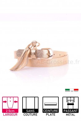 13294 Women's leather Belt - Golden