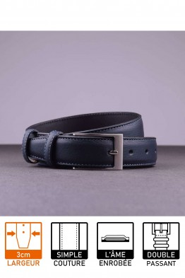 NOS018 Leather belt - Navy blue