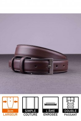 NOS018 Leather belt - Dark brown