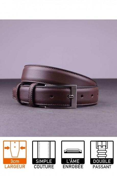 NOS018 Leather belt - Dark brown