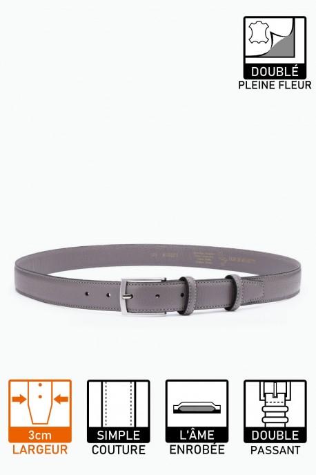 NOS021 Leather belt - Gray