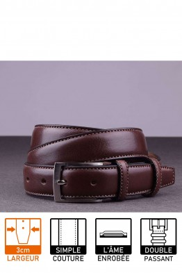 NOS019 Leather belt - Dark brown