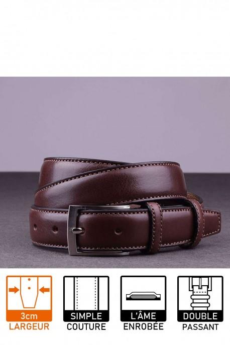 NOS019 Leather belt - Dark brown