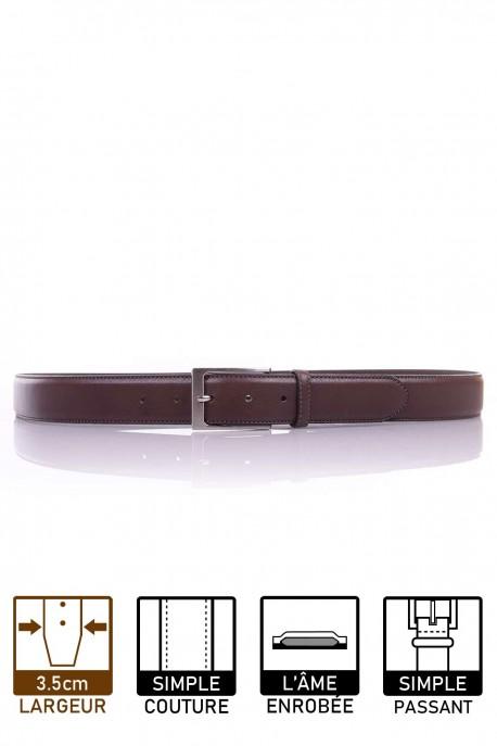 NOS003/35 Leather belt - Dark brown