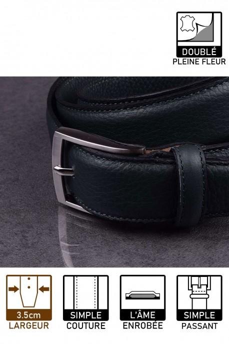 H265 Leather belt dark green