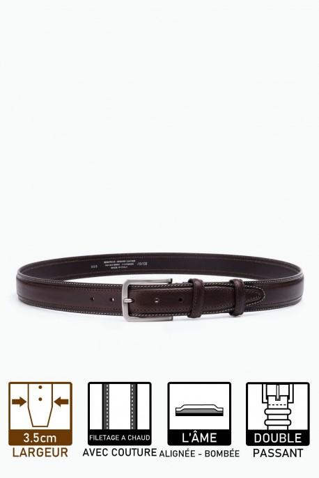 ZE-005-35 Leather Belt - Dark brown