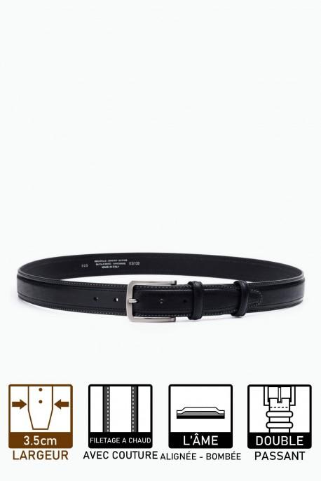 ZE-005-35 Leather Belt - Black