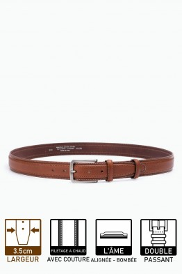 ZE-005-35 Leather Belt - Cognac
