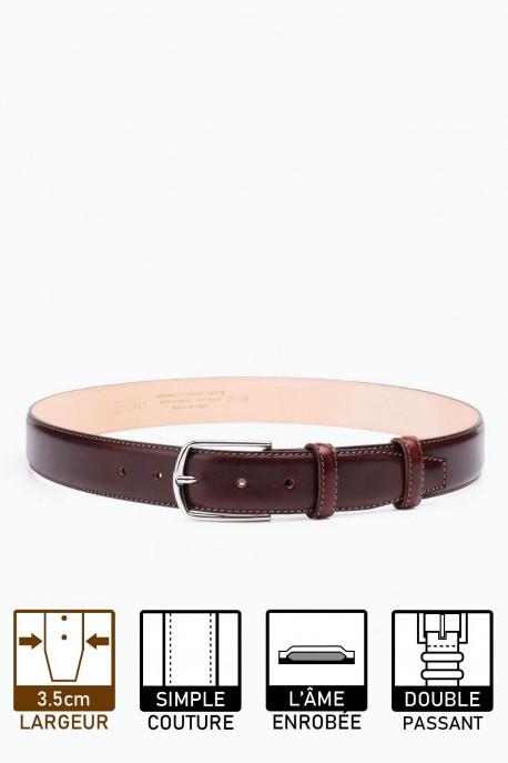 ZE-007-35 Leather Belt - Dark brown