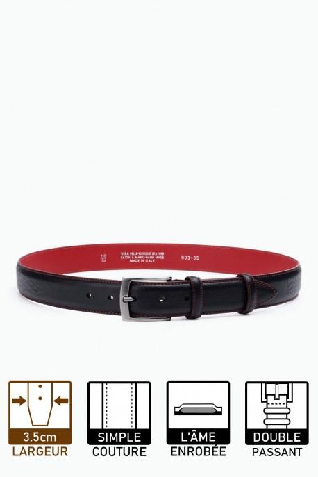 ZE-003-35 Leather Belt - Black