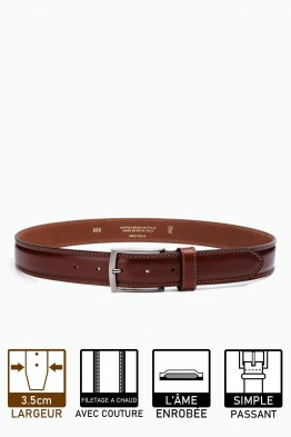 ZE-009-35 Leather Belt - Cognac