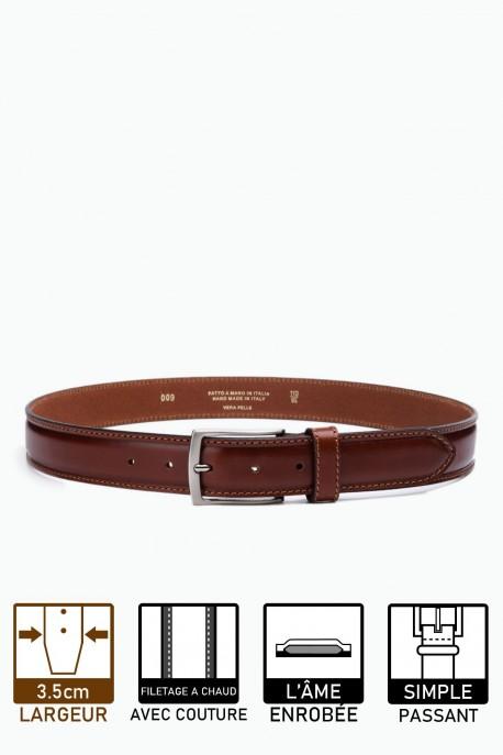 ZE-009-35 Leather Belt - Cognac