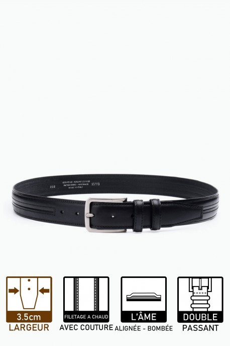 ZE-008-35 Leather Belt - Black