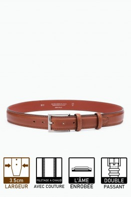 ZE-011-35 Leather Belt - Cognac