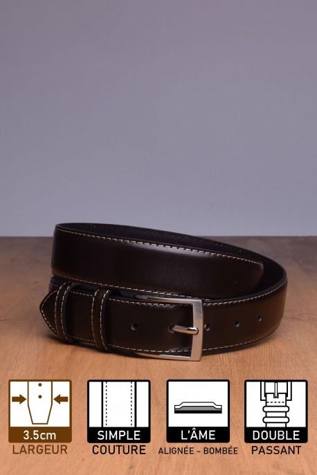 NOS004/35 Leather Belt - Dark brown